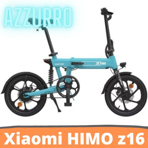 [FATTURA ITALIANA / BONUS]Bicicletta elettrica pieghevole HIMO Z16 AZZURRO Motore da 250 W fino a 80 km Velocità massima 25 km / h Batteria rimovibile IPX7 Impermeabile Smart Display Doppio freno a disco Versione globale