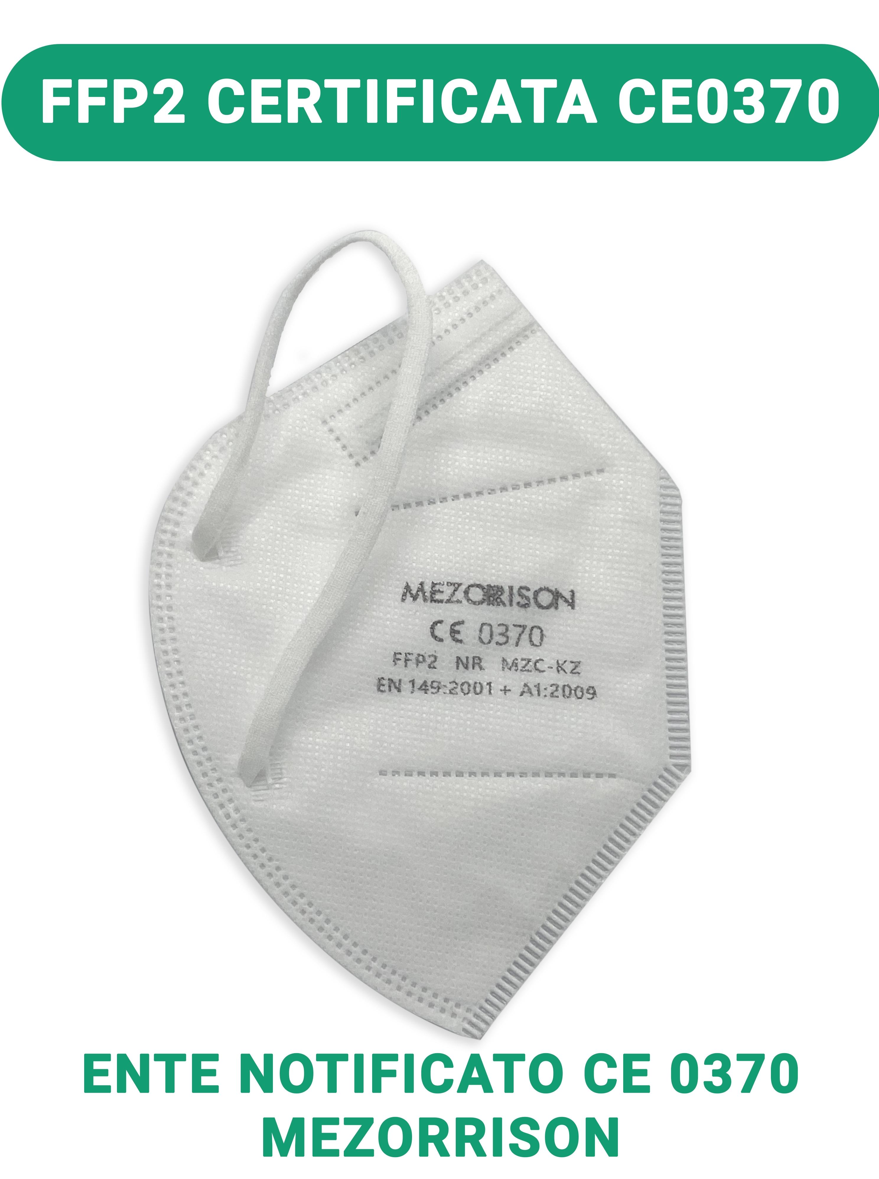 1 Pezzo [ENTE CE0370] Mascherina FFP2 Certificazione Mezorrison [Sconti per quantità] con elastico dietro le orecchie KN95 N95 Respiratore di Protezione