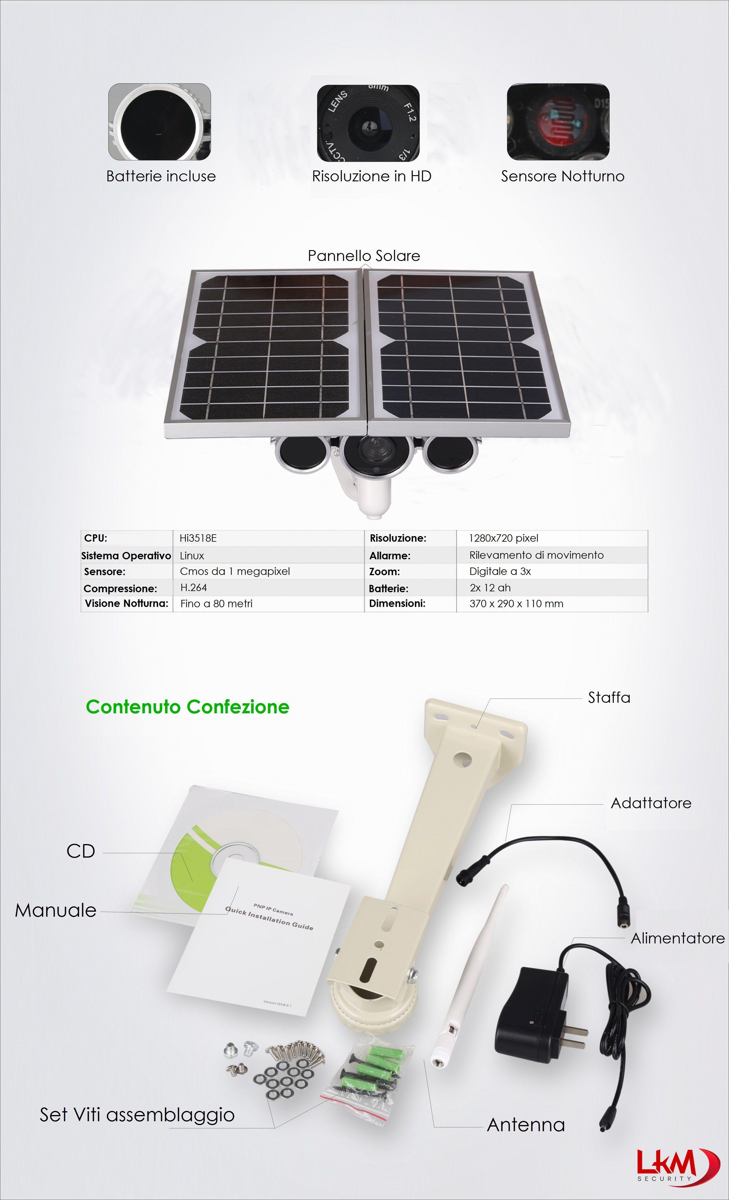 Pannello Solare Con Cd : Telecamera ip wireless con pannello solare e batteria