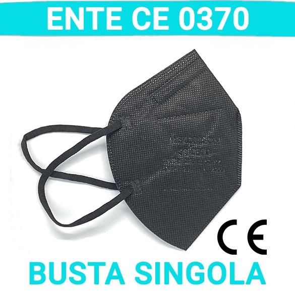 1 Pezzo [ENTE CE0370] Mascherina FP2 Mezorrison® Certificata CE 0370 , EN 149 Mod.MZC-KZ KN95 N95EN 149 Mod.FQ66 FFP2 KN95 N95 uso DPI Colore NERO