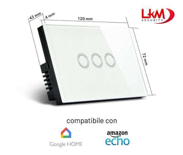 interruttore luci Smart Home WiFi 3 posizioni - dimensioni