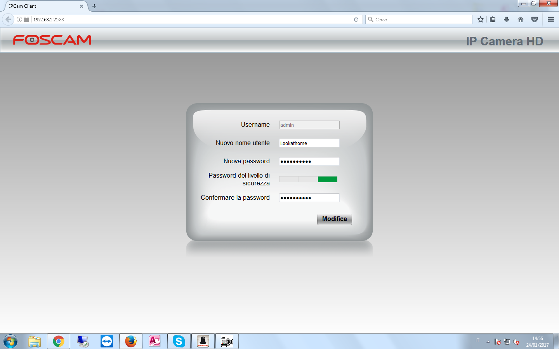 Inserire nuova Username e Password