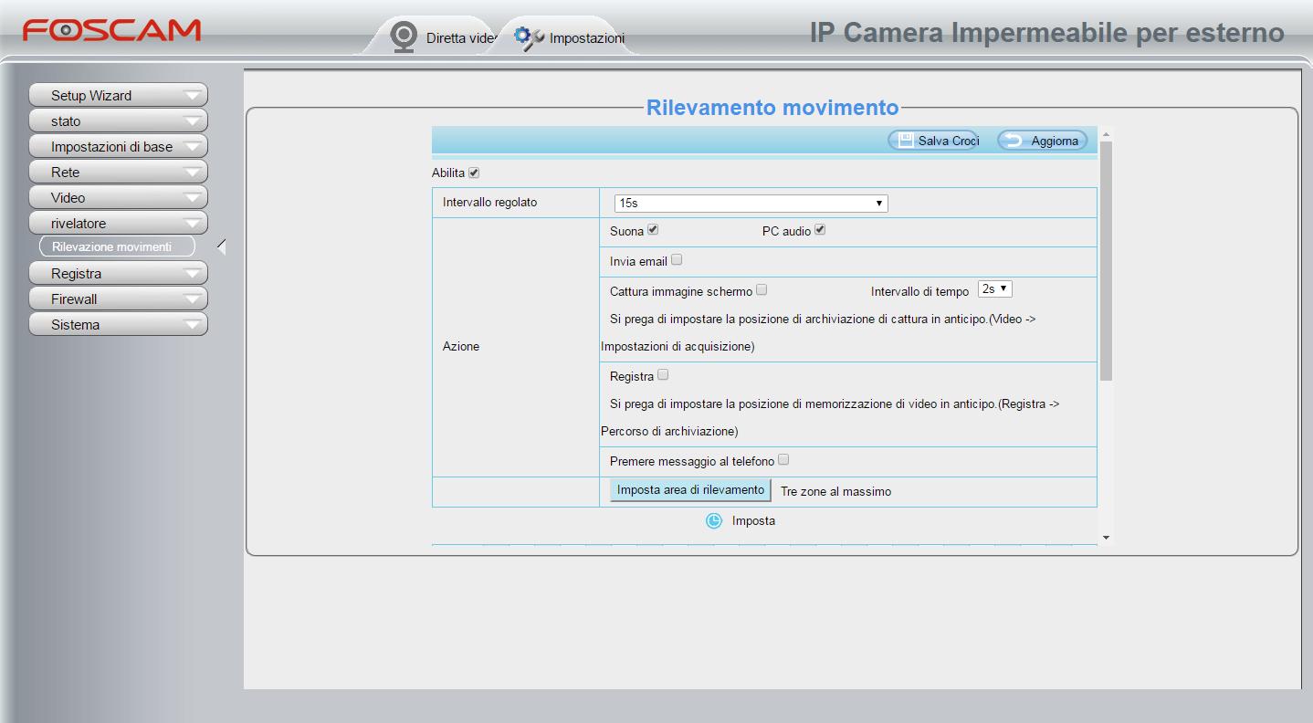Attivare il sensore del rilevamento dei movimenti (Motion Detection) - Foscam Italia, Lookathome e LKM Security