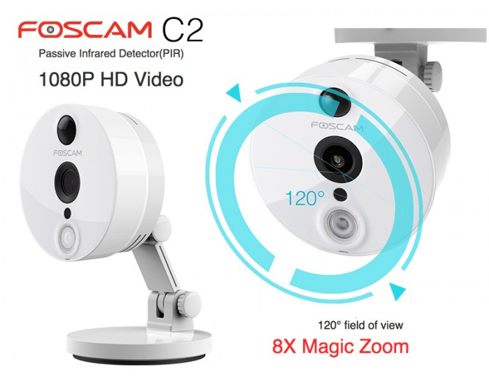 Telecamera IP Foscam C2 di colore bianco
